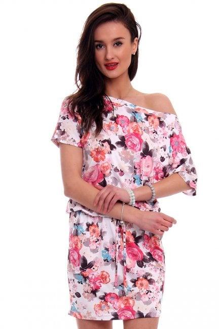 Sukienka wiązana w kwiaty różowa