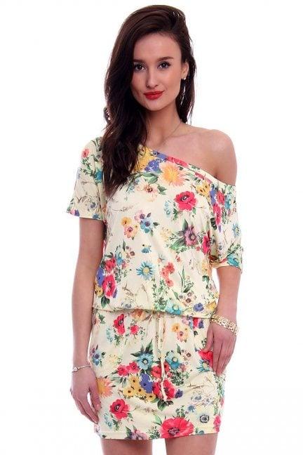 Sukienka wiązana w kwiaty CM142 żółta