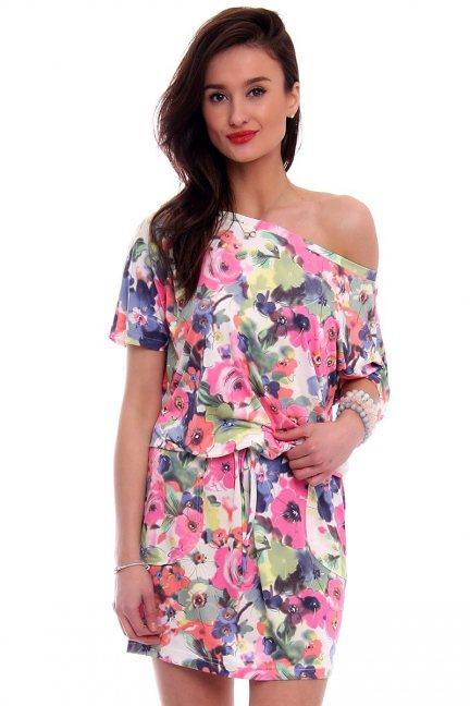 Sukienka wiązana w kwiaty CM142 różowa