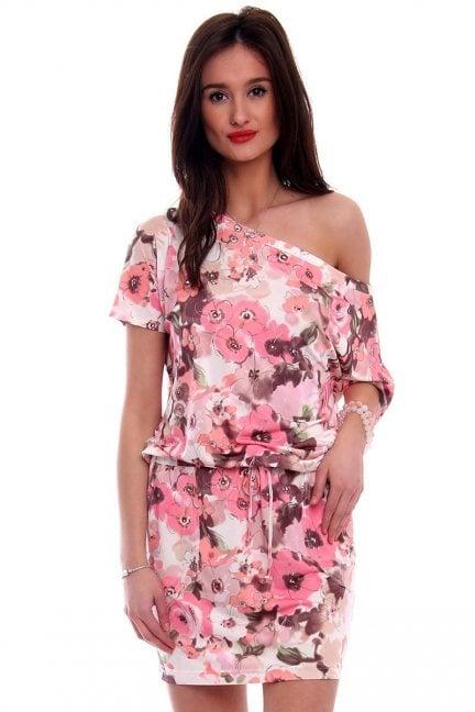 Sukienka wiązana w kwiaty CM142 pudrowy róż