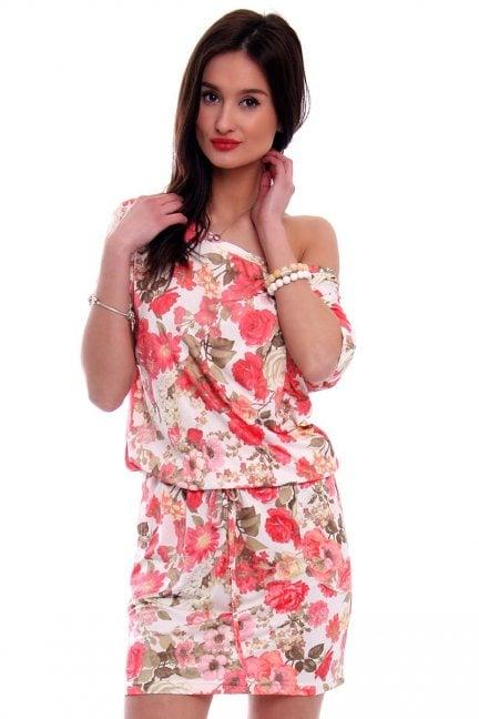 Sukienka wiązana w kwiaty CM142 pomarańczowa