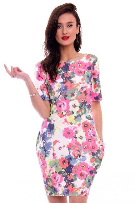 Sukienka tuba w kwiaty CM288 różowa