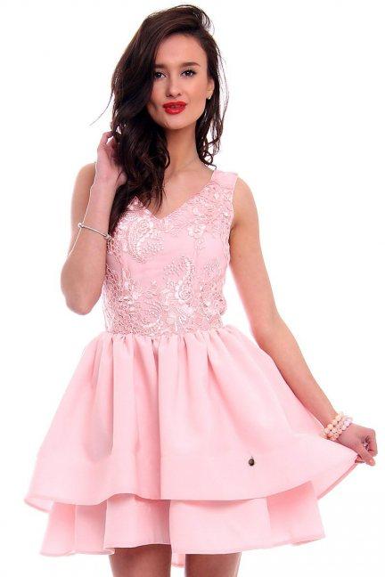 Sukienka z falbankami CMK398 różowa