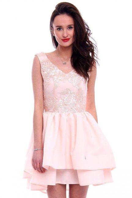 Sukienka z falbankami CMK398 morelowa