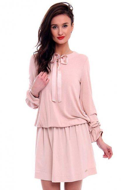 Sukienka damska z kokardą CMK406 różowa