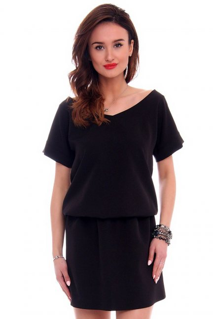 Sukienka mini z paskiem na plecach CMK408 czarna