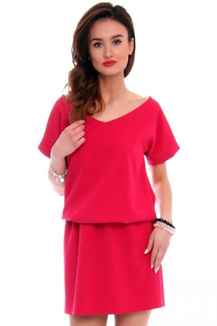 Sukienka mini z paskiem na plecach CMK408 czerwona