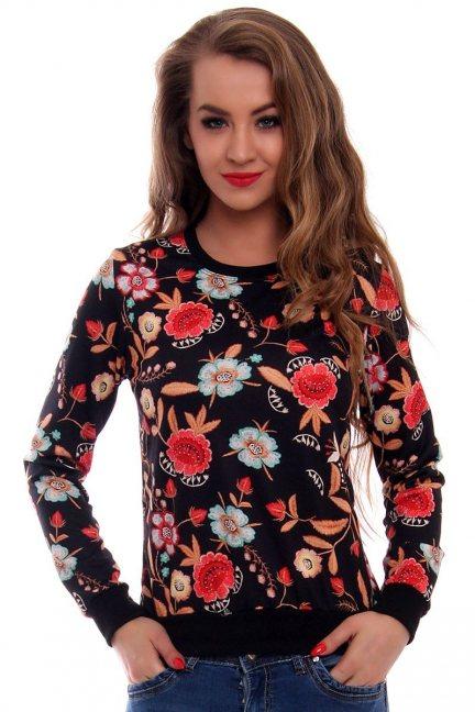 Bluza w kwiaty CMK413 czarna