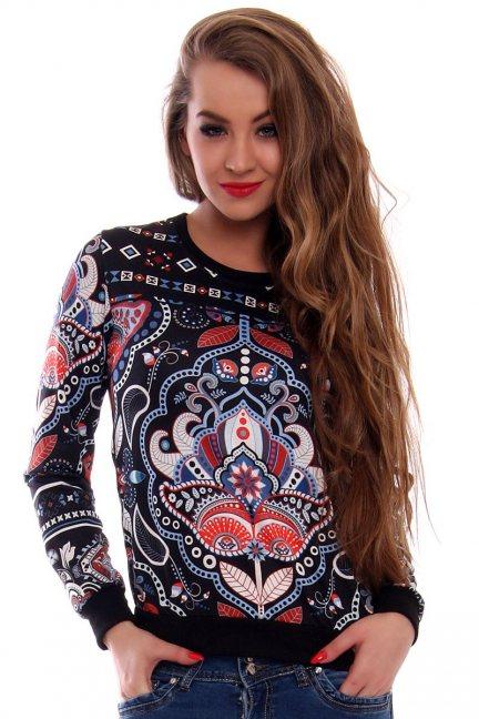 Bluza aztecki wzór CMK414 czarna