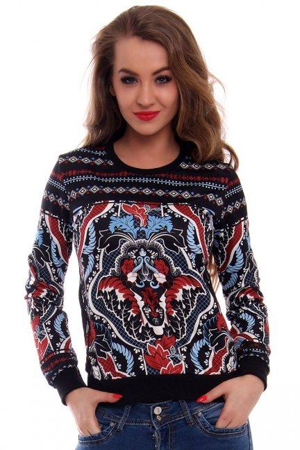 Bluza w aztecki wzór CMK415 czarna