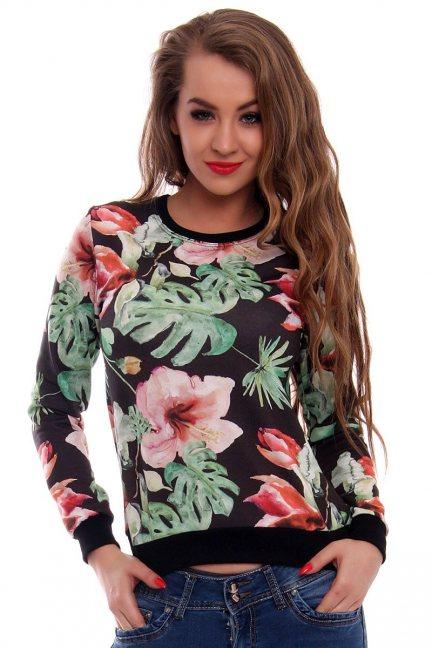 Bluza w kwiaty CMK416 czarna