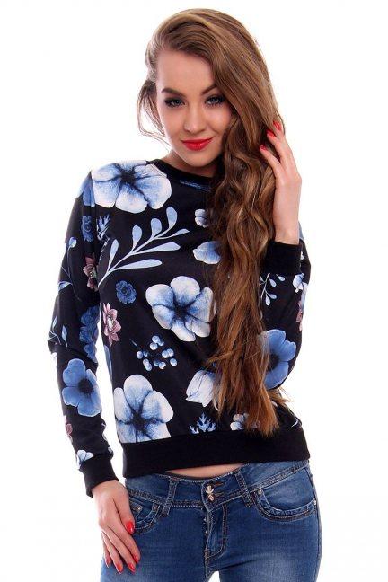 Bluza sportowa w kwiaty CMK419 czarna