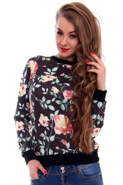 Bluza damska w kwiaty CMK420 czarna