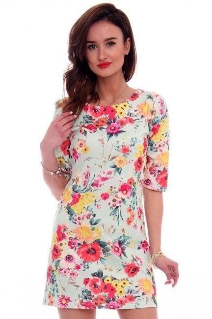 Sukienka ołówkowa kwiaty CM262 miętowa
