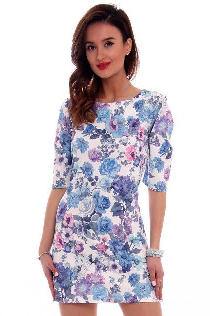 Sukienka ołówkowa kwiaty CM262 niebieska