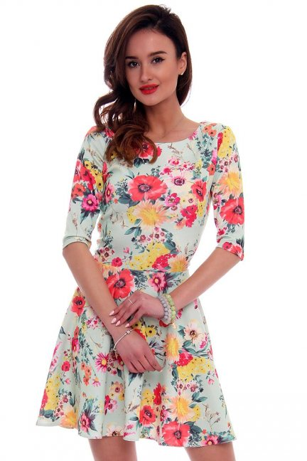 Sukienka z koła w kwiaty CM279 miętowa