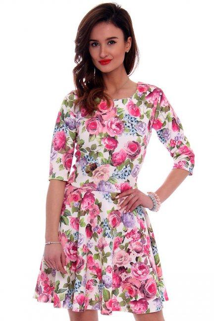 Sukienka z koła w kwiaty CM279 różowa