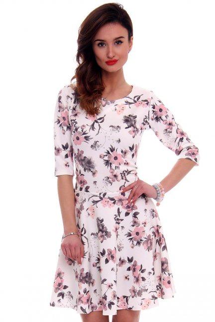 Sukienka z koła w kwiaty CM279 biała