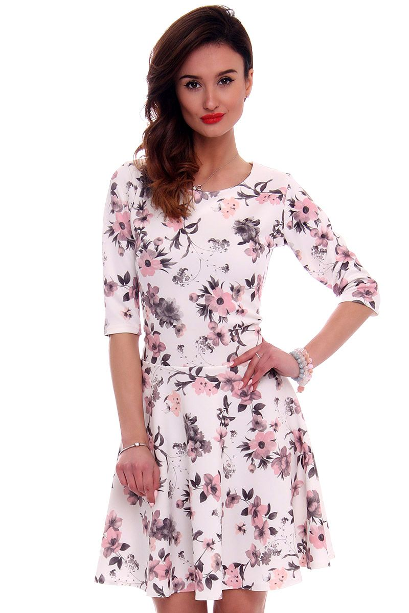69b895220a Sukienka z koła w kwiaty CM279 biała modna odzież online CosmosModa