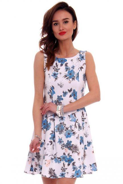 Sukienka rozkloszowana CM260 biała
