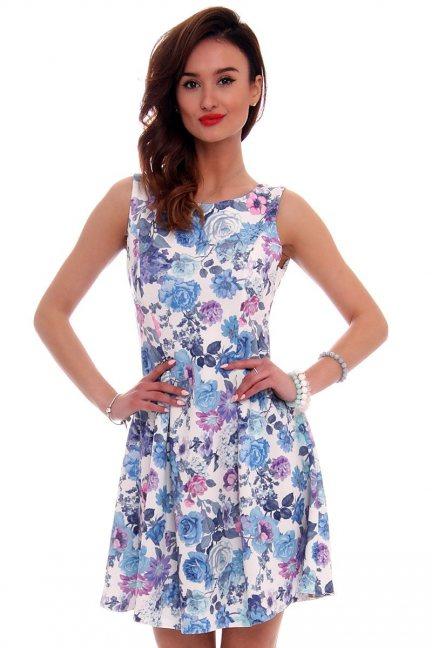 Sukienka rozkloszowana CM260 niebieska