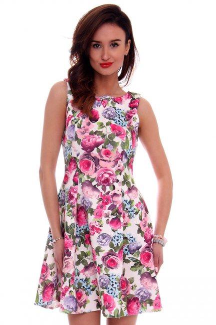 Sukienka rozkloszowana CM260 różowa