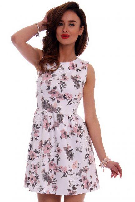 Sukienka modna w kwiaty CM280 biała