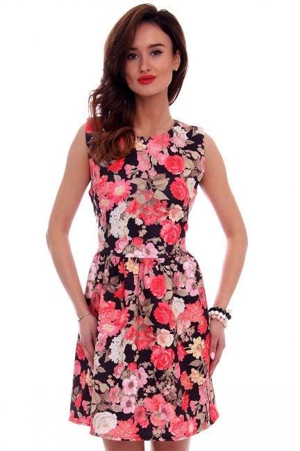 Sukienka modna w kwiaty CM280 czarna