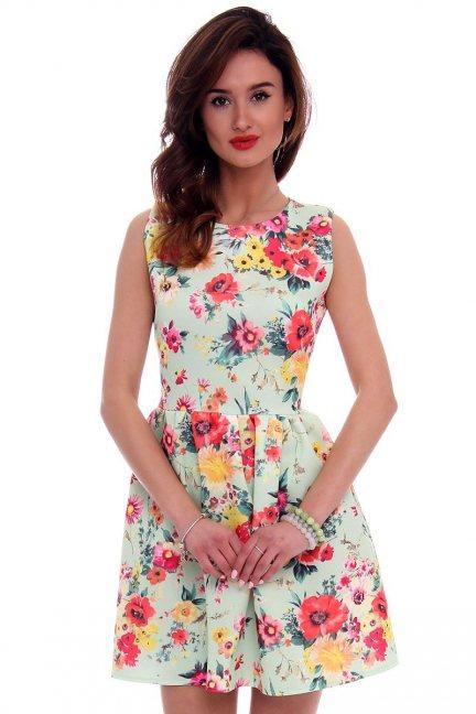 Sukienka modna w kwiaty CM280 miętowa