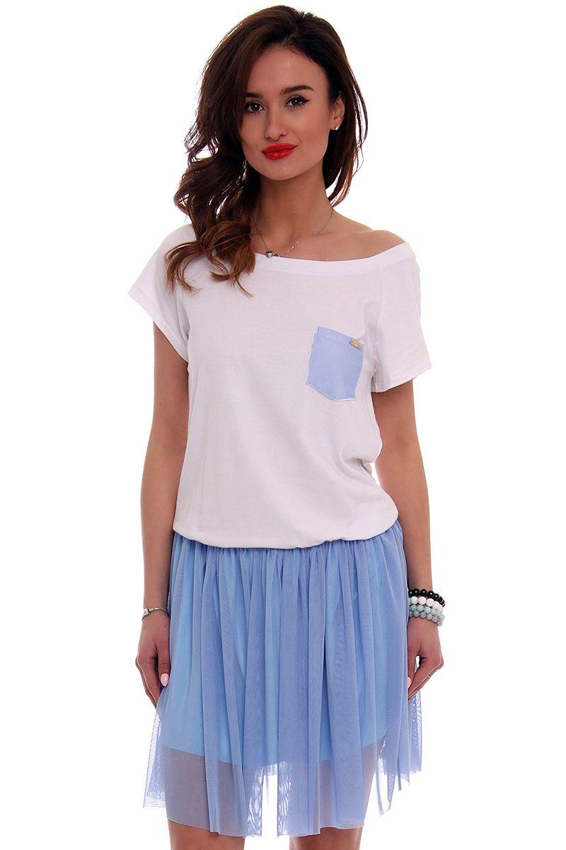61e1966994 Sukienka bawełniana z tiulem CM425 niebieska sklep online CosmosModa