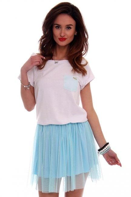 Sukienka bawełna z tiulem CM425 błękitna