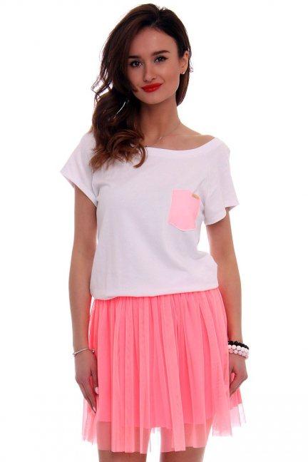 Sukienka bawełna z tiulem CM425 różowa