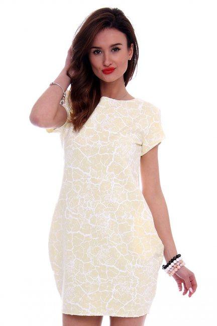 Sukienka tuba marmurek CM094 żółta