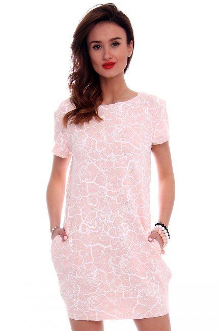 Sukienka tuba marmurek CM094 pudrowy róż