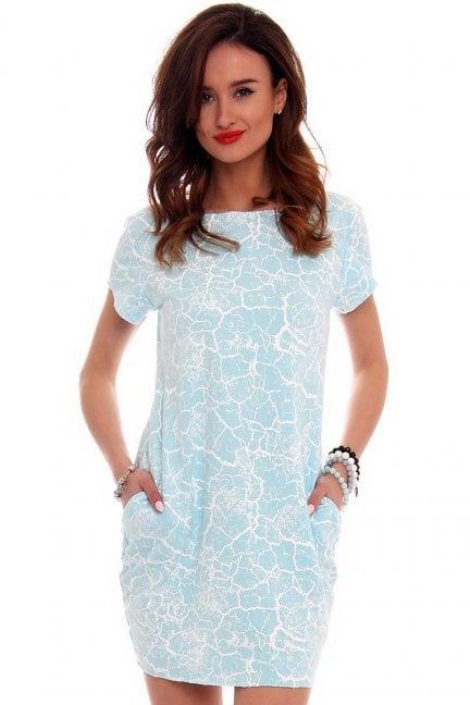 Sukienka tuba marmurek CM094 błękitna