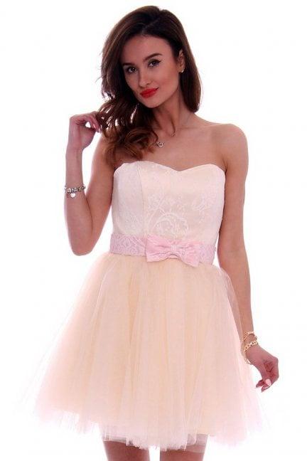 Sukienka gorset kokardka CMW13 różowa