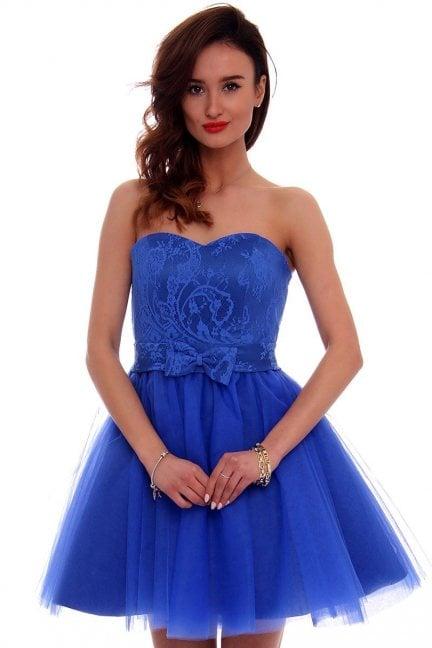 Sukienka gorset kokardka CMW13 chabrowa