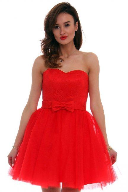 Sukienka z kokardką czerwona