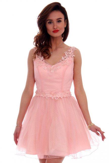 Sukienka tiul koronka CMW10 różowa