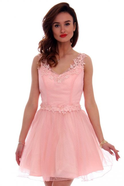 Sukienka tiulowa koronka CMW10 różowa