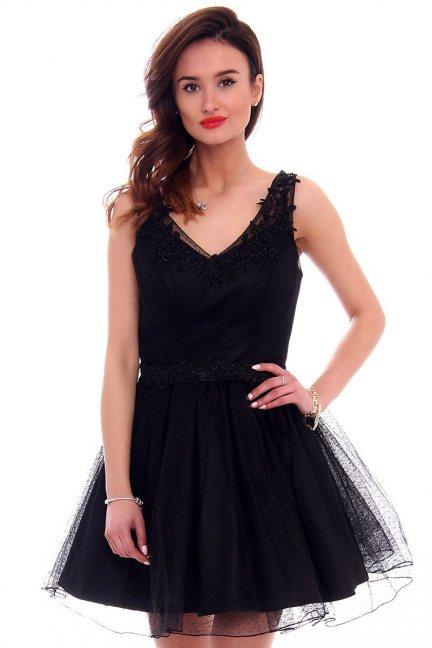 Sukienka tiulowa koronka CMW10 czarna