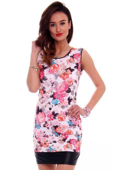 Sukienka ołówkowa kwiaty CM103 biała