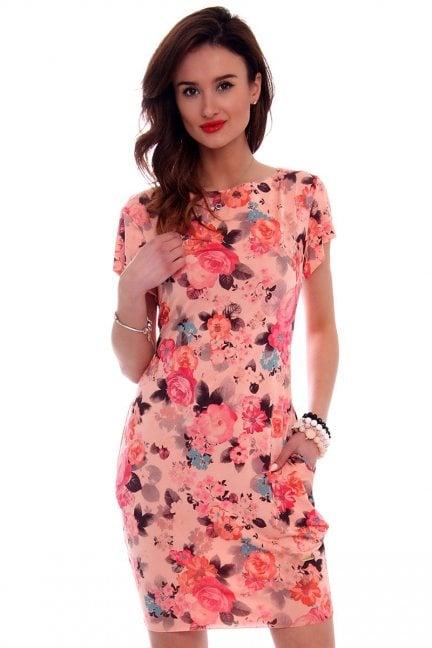 Sukienka tuba midi kwiaty CM094-4 morelowa