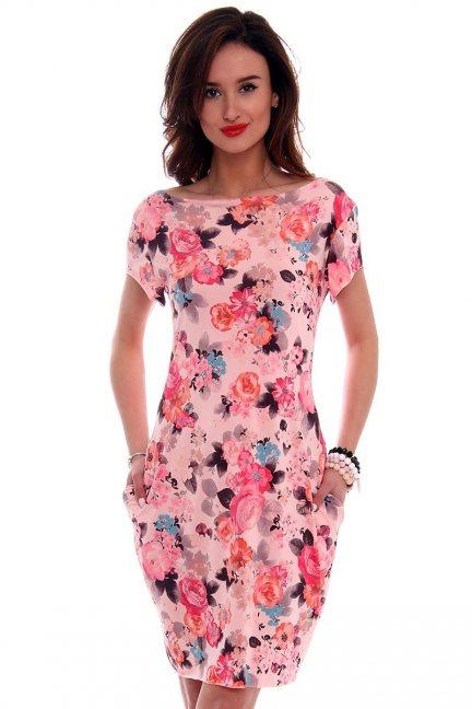 Sukienka tuba midi kwiaty CM094-4 różowa