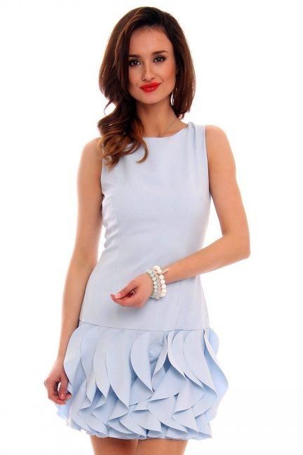 Sukienka mini z falbankami CMK187 błękitna