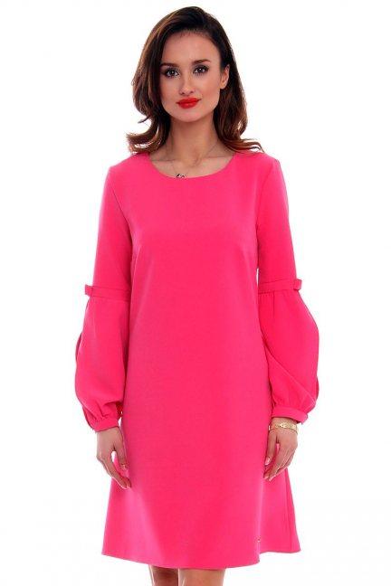 Sukienka trapez bufki CMK380 różowa