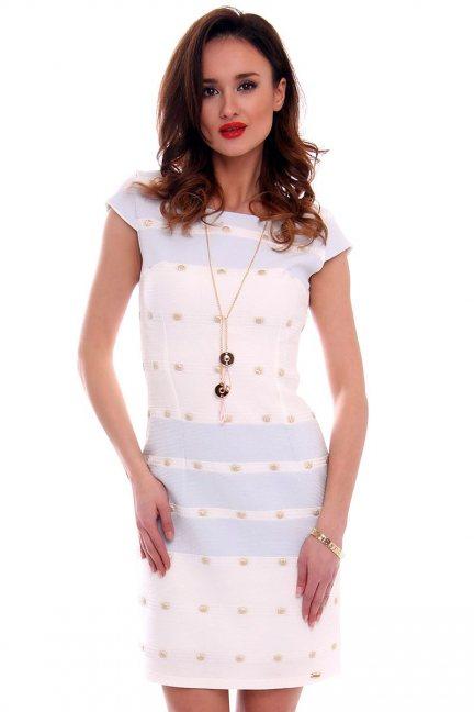 Sukienka dopasowana CMK456 ecru