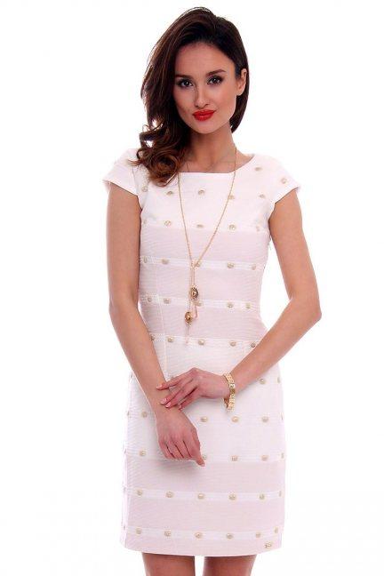 Sukienka dopasowana damska CMK456 ecru