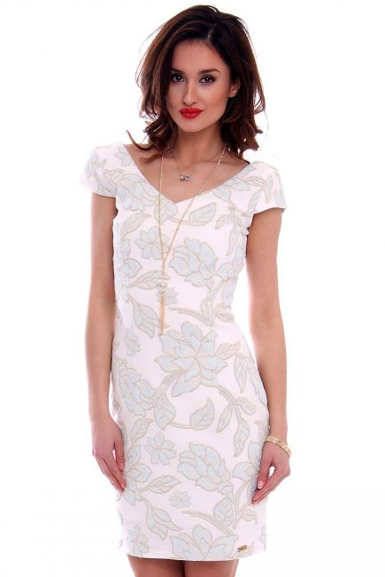 Sukienka w kwiaty CMK459 ecru
