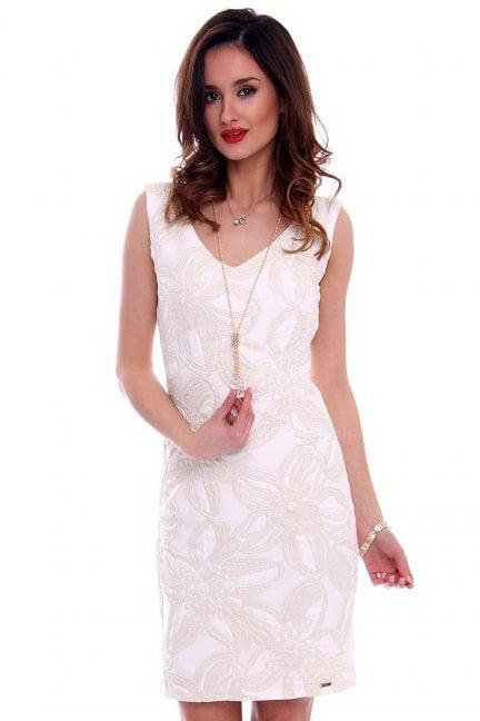 Sukienka elegancka kwiaty CMK460 ecru